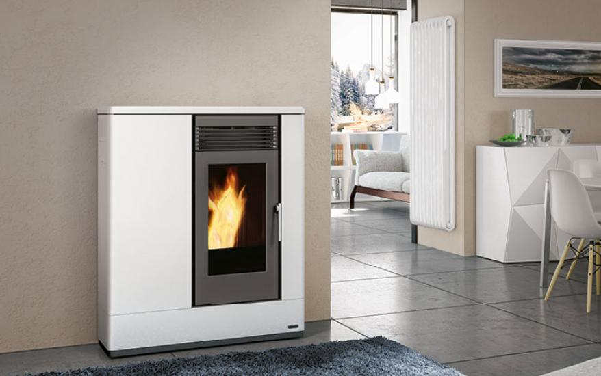 Thermo Pellet Stove P185 TH in Coated Steel, Wall - Flush-with-the ...